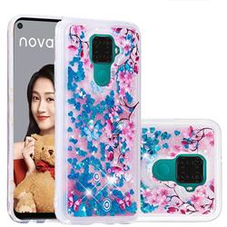 Blue Plum Blossom Dynamic Liquid Glitter Quicksand Soft TPU Case for Huawei Mate 30 Lite(Nova 5i Pro)