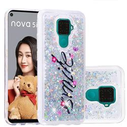 Smile Flower Dynamic Liquid Glitter Quicksand Soft TPU Case for Huawei Mate 30 Lite(Nova 5i Pro)