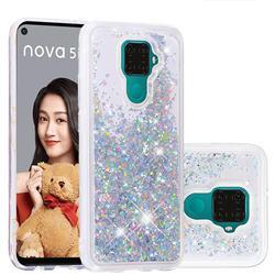 Dynamic Liquid Glitter Quicksand Sequins TPU Phone Case for Huawei Mate 30 Lite(Nova 5i Pro) - Silver