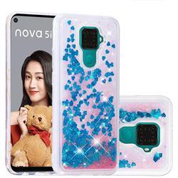 Dynamic Liquid Glitter Quicksand Sequins TPU Phone Case for Huawei Mate 30 Lite(Nova 5i Pro) - Blue