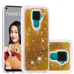 Dynamic Liquid Glitter Quicksand Sequins TPU Phone Case for Huawei Mate 30 Lite(Nova 5i Pro) - Golden