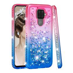 Diamond Frame Liquid Glitter Quicksand Sequins Phone Case for Huawei Mate 30 Lite(Nova 5i Pro) - Pink Blue