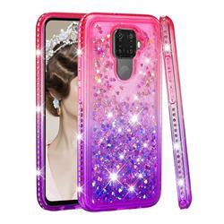 Diamond Frame Liquid Glitter Quicksand Sequins Phone Case for Huawei Mate 30 Lite(Nova 5i Pro) - Pink Purple