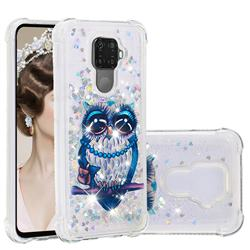 Sweet Gray Owl Dynamic Liquid Glitter Sand Quicksand Star TPU Case for Huawei Mate 30 Lite(Nova 5i Pro)