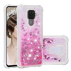 Dynamic Liquid Glitter Sand Quicksand TPU Case for Huawei Mate 30 Lite(Nova 5i Pro) - Pink Love Heart
