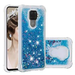 Dynamic Liquid Glitter Sand Quicksand TPU Case for Huawei Mate 30 Lite(Nova 5i Pro) - Blue Love Heart