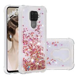 Dynamic Liquid Glitter Sand Quicksand TPU Case for Huawei Mate 30 Lite(Nova 5i Pro) - Rose Gold Love Heart