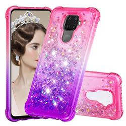 Rainbow Gradient Liquid Glitter Quicksand Sequins Phone Case for Huawei Mate 30 Lite(Nova 5i Pro) - Pink Purple