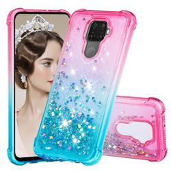 Rainbow Gradient Liquid Glitter Quicksand Sequins Phone Case for Huawei Mate 30 Lite(Nova 5i Pro) - Pink Blue