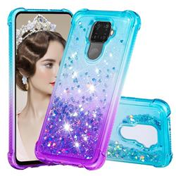 Rainbow Gradient Liquid Glitter Quicksand Sequins Phone Case for Huawei Mate 30 Lite(Nova 5i Pro) - Blue Purple