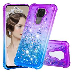 Rainbow Gradient Liquid Glitter Quicksand Sequins Phone Case for Huawei Mate 30 Lite(Nova 5i Pro) - Purple Blue