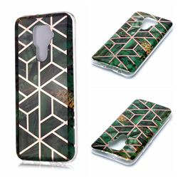 Green Rhombus Galvanized Rose Gold Marble Phone Back Cover for Huawei Mate 30 Lite(Nova 5i Pro)