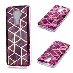 Purple Rhombus Galvanized Rose Gold Marble Phone Back Cover for Huawei Mate 30 Lite(Nova 5i Pro)