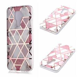 Pink Rhombus Galvanized Rose Gold Marble Phone Back Cover for Huawei Mate 30 Lite(Nova 5i Pro)