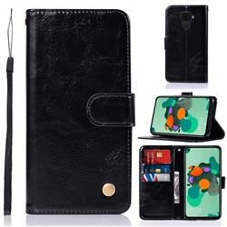 Luxury Retro Leather Wallet Case for Huawei Mate 30 Lite(Nova 5i Pro) - Black
