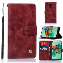 Luxury Retro Leather Wallet Case for Huawei Mate 30 Lite(Nova 5i Pro) - Wine Red