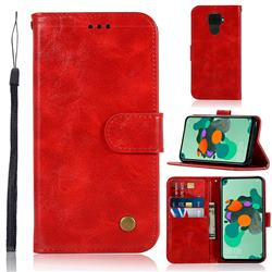 Luxury Retro Leather Wallet Case for Huawei Mate 30 Lite(Nova 5i Pro) - Red