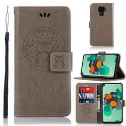 Intricate Embossing Owl Campanula Leather Wallet Case for Huawei Mate 30 Lite(Nova 5i Pro) - Grey