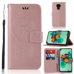 Intricate Embossing Owl Campanula Leather Wallet Case for Huawei Mate 30 Lite(Nova 5i Pro) - Rose Gold