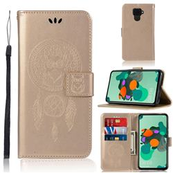 Intricate Embossing Owl Campanula Leather Wallet Case for Huawei Mate 30 Lite(Nova 5i Pro) - Champagne
