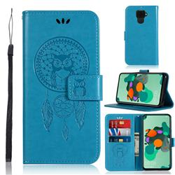 Intricate Embossing Owl Campanula Leather Wallet Case for Huawei Mate 30 Lite(Nova 5i Pro) - Blue