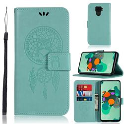 Intricate Embossing Owl Campanula Leather Wallet Case for Huawei Mate 30 Lite(Nova 5i Pro) - Green