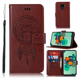 Intricate Embossing Owl Campanula Leather Wallet Case for Huawei Mate 30 Lite(Nova 5i Pro) - Brown