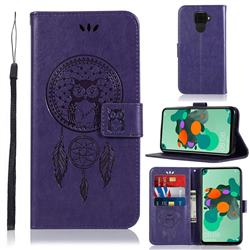 Intricate Embossing Owl Campanula Leather Wallet Case for Huawei Mate 30 Lite(Nova 5i Pro) - Purple