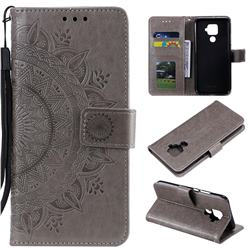 Intricate Embossing Datura Leather Wallet Case for Huawei Mate 30 Lite(Nova 5i Pro) - Gray