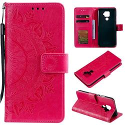 Intricate Embossing Datura Leather Wallet Case for Huawei Mate 30 Lite(Nova 5i Pro) - Rose Red