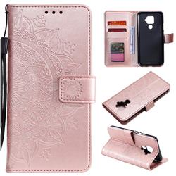 Intricate Embossing Datura Leather Wallet Case for Huawei Mate 30 Lite(Nova 5i Pro) - Rose Gold