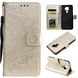 Intricate Embossing Datura Leather Wallet Case for Huawei Mate 30 Lite(Nova 5i Pro) - Golden
