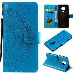 Intricate Embossing Datura Leather Wallet Case for Huawei Mate 30 Lite(Nova 5i Pro) - Blue