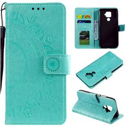 Intricate Embossing Datura Leather Wallet Case for Huawei Mate 30 Lite(Nova 5i Pro) - Mint Green