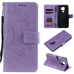 Intricate Embossing Datura Leather Wallet Case for Huawei Mate 30 Lite(Nova 5i Pro) - Purple