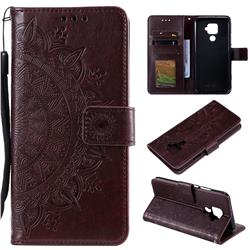Intricate Embossing Datura Leather Wallet Case for Huawei Mate 30 Lite(Nova 5i Pro) - Brown
