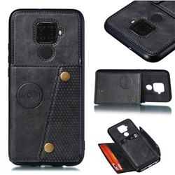 Retro Multifunction Card Slots Stand Leather Coated Phone Back Cover for Huawei Mate 30 Lite(Nova 5i Pro) - Black