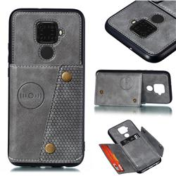 Retro Multifunction Card Slots Stand Leather Coated Phone Back Cover for Huawei Mate 30 Lite(Nova 5i Pro) - Gray