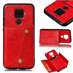 Retro Multifunction Card Slots Stand Leather Coated Phone Back Cover for Huawei Mate 30 Lite(Nova 5i Pro) - Red
