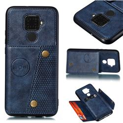 Retro Multifunction Card Slots Stand Leather Coated Phone Back Cover for Huawei Mate 30 Lite(Nova 5i Pro) - Blue
