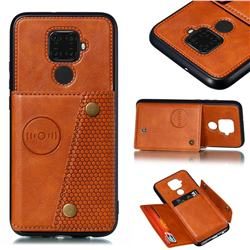 Retro Multifunction Card Slots Stand Leather Coated Phone Back Cover for Huawei Mate 30 Lite(Nova 5i Pro) - Brown