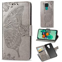 Embossing Mandala Flower Butterfly Leather Wallet Case for Huawei Mate 30 Lite(Nova 5i Pro) - Gray
