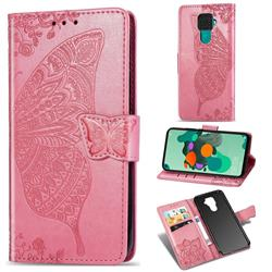 Embossing Mandala Flower Butterfly Leather Wallet Case for Huawei Mate 30 Lite(Nova 5i Pro) - Pink
