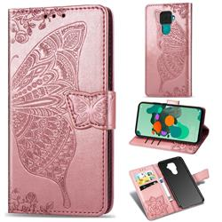 Embossing Mandala Flower Butterfly Leather Wallet Case for Huawei Mate 30 Lite(Nova 5i Pro) - Rose Gold