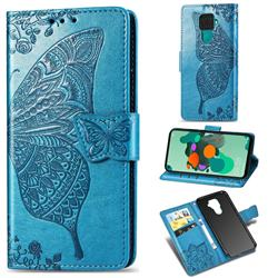 Embossing Mandala Flower Butterfly Leather Wallet Case for Huawei Mate 30 Lite(Nova 5i Pro) - Blue