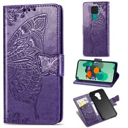 Embossing Mandala Flower Butterfly Leather Wallet Case for Huawei Mate 30 Lite(Nova 5i Pro) - Dark Purple