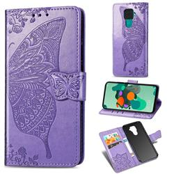 Embossing Mandala Flower Butterfly Leather Wallet Case for Huawei Mate 30 Lite(Nova 5i Pro) - Light Purple
