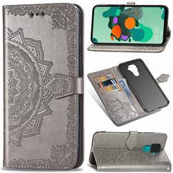 Embossing Imprint Mandala Flower Leather Wallet Case for Huawei Mate 30 Lite(Nova 5i Pro) - Gray