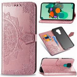 Embossing Imprint Mandala Flower Leather Wallet Case for Huawei Mate 30 Lite(Nova 5i Pro) - Rose Gold