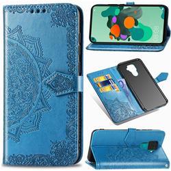 Embossing Imprint Mandala Flower Leather Wallet Case for Huawei Mate 30 Lite(Nova 5i Pro) - Blue